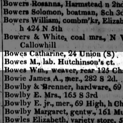 Bowes, M., lab. Hutchinson's ct.