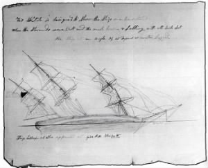 Thomas Nickerson's drawing of the Essex on it's side after it was attacked by a whale