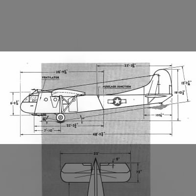 3-view of CG-4A: The Waco Glider