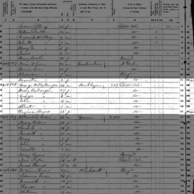 George W. BALLENGER, Sr. b. Washington DC.  This is the 1850 fed census.