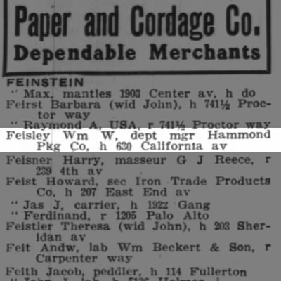 Feisley, William Webb Department Manager Hammond Package Company