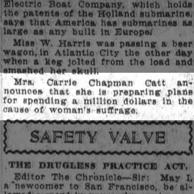 Mrs Catt puts up $1 million for woman's suffrage
