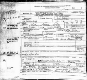 Death Certificate of Rosa Whipp Angelo Hunter