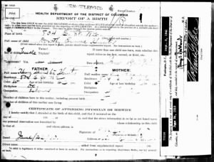 Birth Certificate of Dorothy Emma Hunter