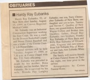Hardy's Obituary