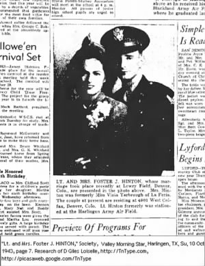 Marriage of Lt Foster J HINTON to Viola YARBOROUGH, 16 Sep 1943