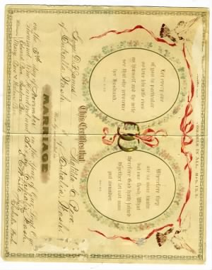 wedding certificate for George James and Matilda Pero