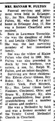 Obituary of Hannah Wrigley Fulton