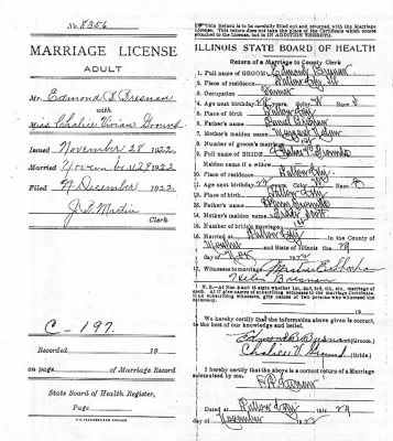 Back of marriage certificate for Edmond Bresnan and Chalice Ground.