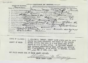 Jessie May Craycroft birth certificate