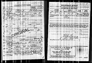 David Robert Whitman WWI Draft Registration Card