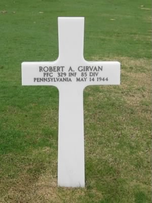 Headstone of PFC Robert A. Girvan