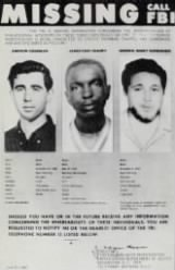 Missing poster for Michael Schwerner, Andrew Goodman and James Chaney