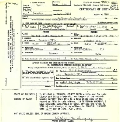 James Robert Craycroft birth certificate - Fold3.com