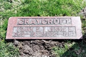 Frank and Jennie Craycroft grave marker