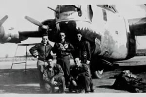 Fernand G Allie, B-24 Gunner with his Ship and Crew, Italy.
