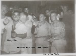 "Harry Yoa and the ""guys"" at the Mess Hall/Corsica, 1944"