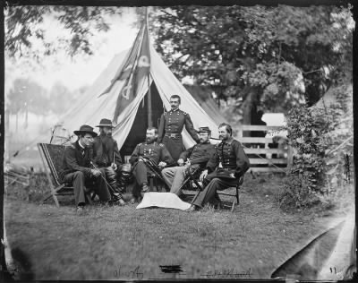 Mathew B Brady Collection of Civil War Photographs › B-9 General Philip Sheridan, General Wesley Merritt, General David McMurtrie Gregg, General Jefferson Columbus Davis, General James Harrison Wilson, General Alfred Torbert. - Fold3.com