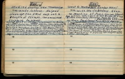 fh-nvd famd Norman Van Duncan's Missionary Journal Mentions Future Wife Sister Flora Miles on Sunday 30 Mar 1947.jpg - Fold3.com