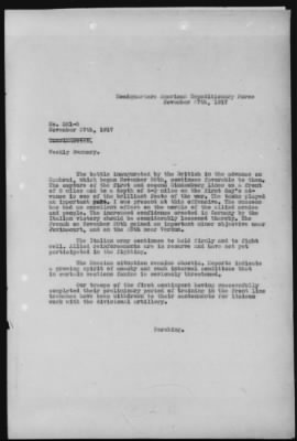 November 27, 1917 Cablegram with weekly summary from American Expeditionary Force