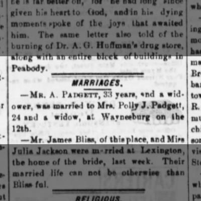 Augusta Padgett marrage 12Jan1884