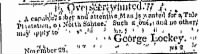 George Lockey Advertises for an Overseer for Plantation on North Santee River, SC