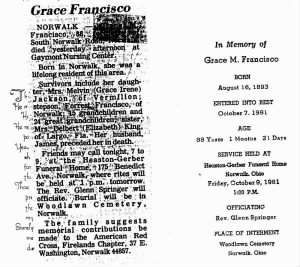 Grace Francisco Obit