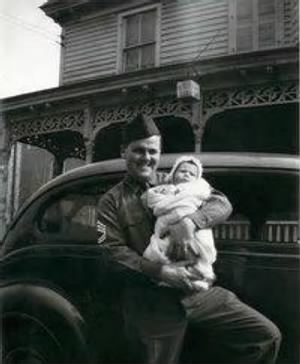 James H Sharp with his 1st child, daughter Bonnie Lynn Sharp.