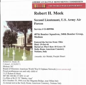 Lt Robt. Meek, Co-Pilot on the Shirley Ann KIA 19 Oct.'44