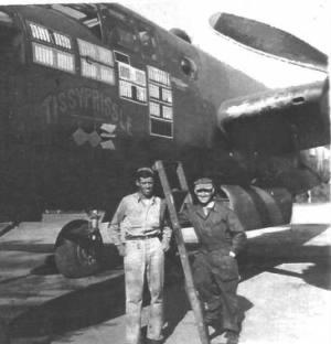 Frank with his Ship, B-25 TISSYPRISSLE /Corsica.
