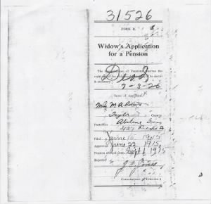 Roberts, William Widows Confederate Pension Application Texas 001.jpg