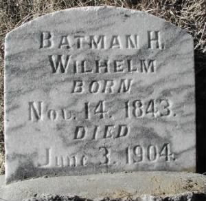 Original headstone for Bateman Haight Wilhelm