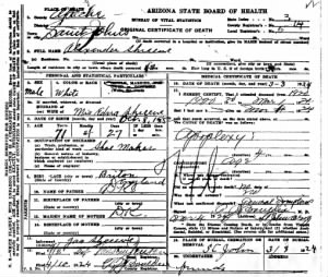 Alexander George Day Shreeve death certificate