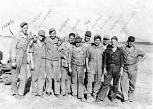 Frank with other 447th Bomb squad Crew Chief's /Engineers and CREW, N. Africa