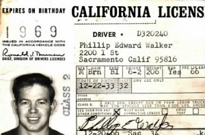 Phillip Edward Walker (1933-1972) 1969 CA Drivers Licence