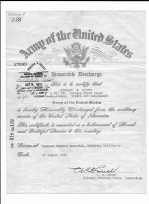 Honorable Discharge of Mildred C. Calvin