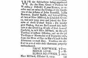 Ad for Sale of Daniel Smith Property 1779