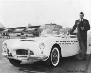 USAF Maj. Buesking with his B-47 and his favorite automobile.