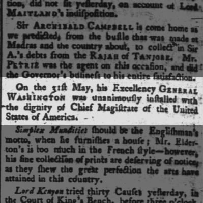 Announcement of Washington's inauguration in the London Times