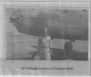 "Capt ""VOS"" in front of the B-25 Carolina Belle"