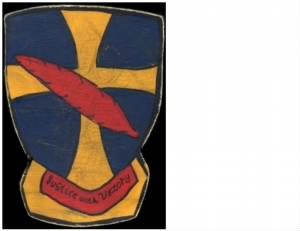 "The Original 95th BG Patch, ""Red Feather Over Ancient Cross"" Emblem"