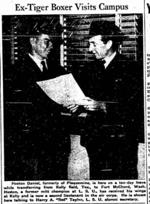 March, 1941, Heston C Daniel, Mit-Champion at LSU