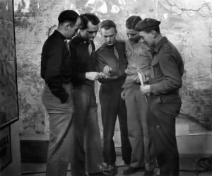 310th BG Capt Frank Goeckel in the War-room in Italy /WWII