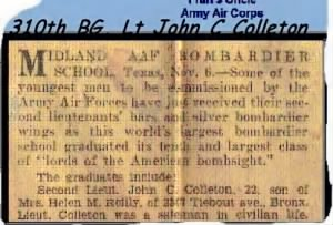 Lt John C (and Theresa) Colleton, Home-town newspaper article.