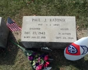 Katonik's grave at All Saints Braddock Cemetery, Pittsburgh, Pennsylvania