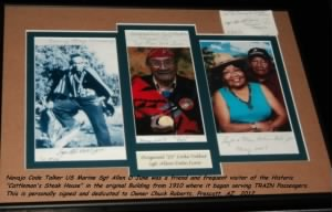 Photo Display of Navajo Code Talker, US Marine Sgt Allen Dale June