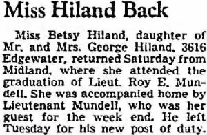 9 Sept.1942, Miss Betsy Hiland guest of Lt Roy Mundell