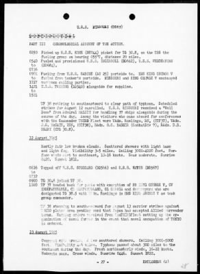 Rep of opers with the THIRD Fleet conducting air & surface strikes against the Japanese Empire, 7/10/45 - 8/15/45, including AA action on 8/9/45 › Page 28 - Fold3.com