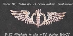 321st BG, 446th BS, Lt Frank Jaksic, Commissioned Bombardier, B-25 Mitchells, MTO