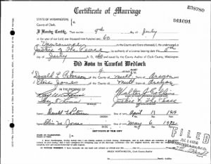 Certificate of Marriage for Elsie (Underwood) Jones & Donald Peterson